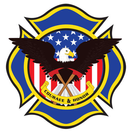 dangerous work: Fire Fighter Emblem with Eagle and Axes Illustration