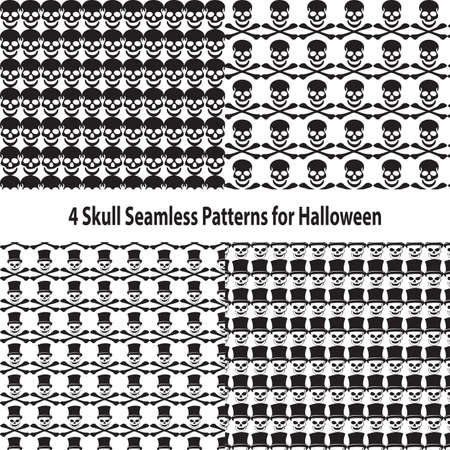 Four Skull Seamless Patterns for Halloween Vector