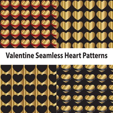 Valentine Seamless Heart Patterns Illustration