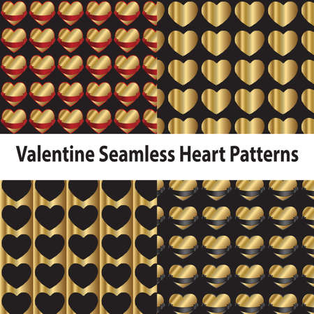 silvery: Valentine Seamless Heart Patterns Illustration