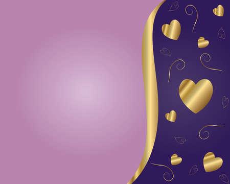 Valentine Vector-Purple & Gold Background Vector