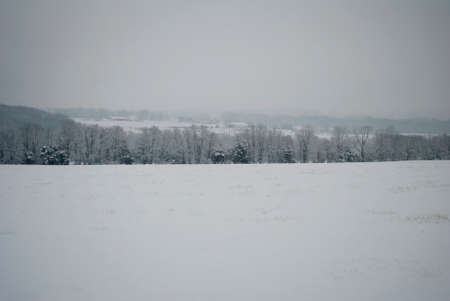 stormed: Country Scenicview During a Blizzard in New England Stock Photo