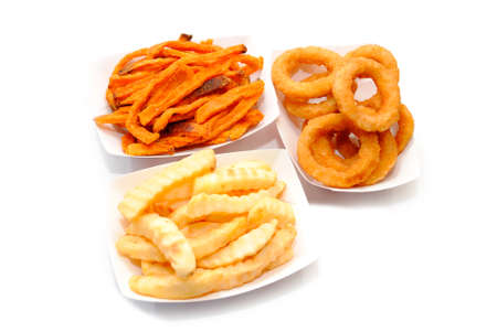 French Fries, Sweet Potato Fries and Onion Rings