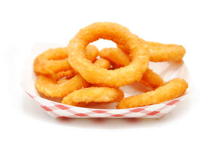 take out: Fried Onion Rings in a Take Out Container Stock Photo