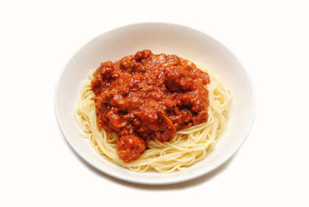bolognese sauce: Angel Hair Pasta Served with Bolognese Sauce Stock Photo