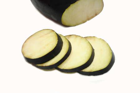 eggplant: Sliced Eggplant Isolated Over a White Background Stock Photo