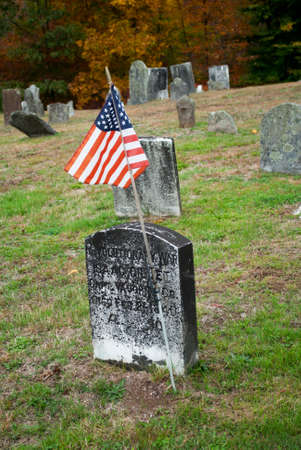 revolutionary: Old American Revolutionary Cemetery Flag Stock Photo