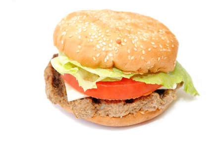 appetising: Fresh Cheese Burger with Veggies Stock Photo