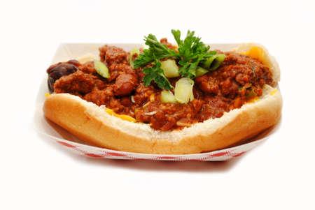 carnes y verduras: Comida rápida Cargado Chili Dog Listo para comer