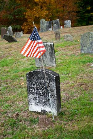 head stones: Old American Revolutionary Cemetery Flag Editorial