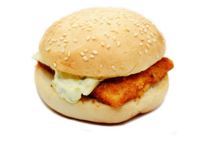 A Fast Food Fish Sandwich Over White