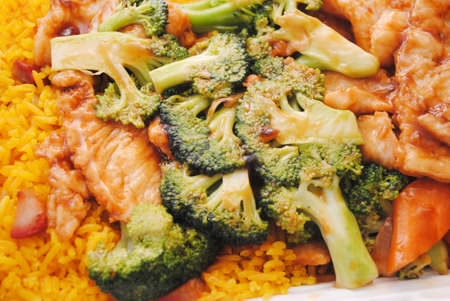 takeout: Chinese (American) Takeout of Chicken & Broccoli Stock Photo