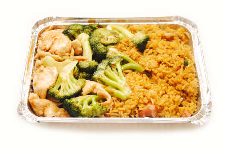 chinese american: Chinese (American) Chicken & Broccoli with Pork Fried Rice