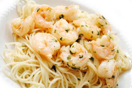 scampi: Spaghetti with Shrimp Scampi Stock Photo