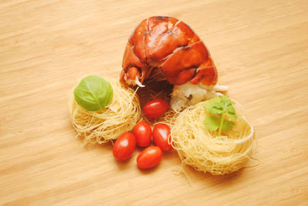lobster tail: Fresh Lobster Tail with Dried Angel Hair Pasta Nests