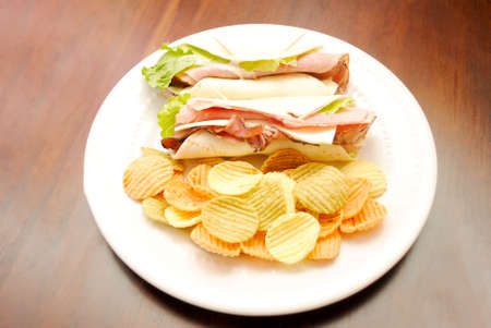 meaty: Two Meaty Wraps Served with Veggie Chips
