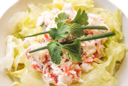 crabmeat: Seafood Salad Topped with Scallion and Parsley