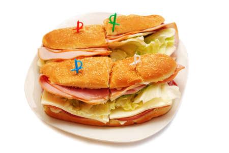 hoagie: Ham and Cheese Club Sandwiches Stock Photo