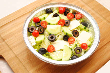 to toss: Fresh Toss Salad in a Foil Container