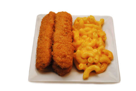 fishfinger: Fish Sticks Served on a Plate With Mac & Cheese