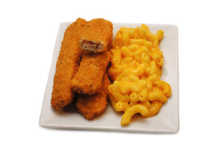 Fish Sticks Served on a Plate With Mac & Cheese