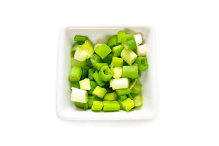 ramosum: Flavorful Green Onion Sliced in a White Bowl