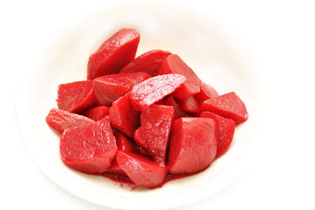 Cut Beets in a White Bowl Stock Photo