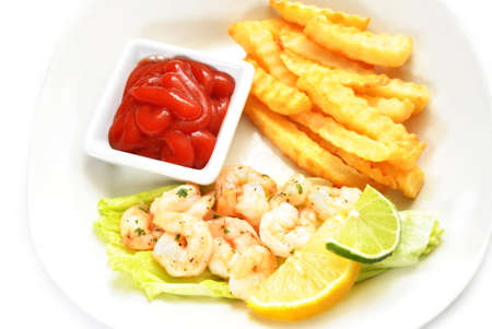 Shrimp Dinner with a Side of Catsup Stock Photo