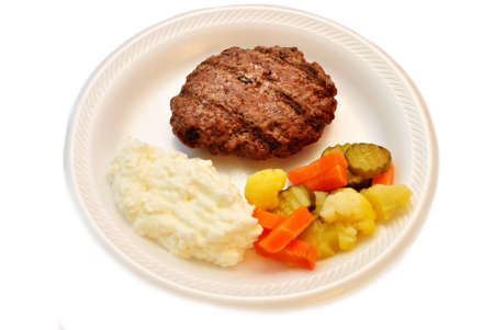 Healthy Meal of Lean Meat, Pickled Vegetables and Cottage Cheese