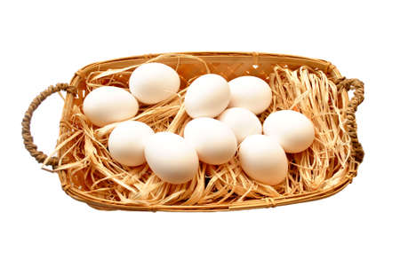 Fresh Hen Eggs in a Basket Isolated Over White Stock Photo