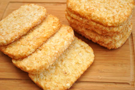 hashbrowns: Frozen Potato Hashbrowns on a Wooden Surface