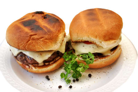 Two Juicy Cheese Burgers Stock Photo