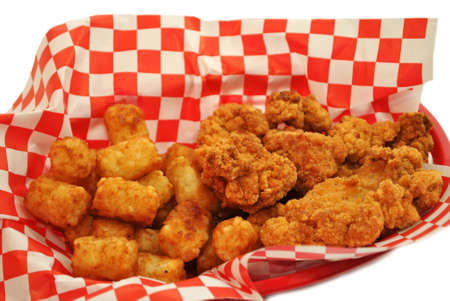 tenders: Deep Fried Chicken Nuggets with Tator Tots Stock Photo