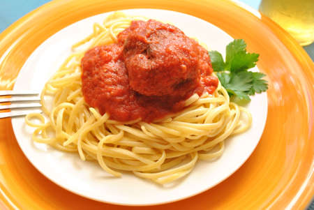 Meatball and Pasta Stock Photo