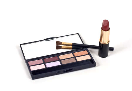 Eye Shadows With Brush, Mirror and Lipstick