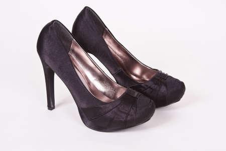 Ladies classy black satin formal high heels.