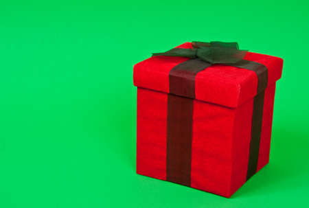 Christmas package on a green background