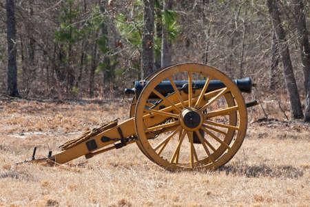 Antiguos ca�ones de la Guerra Civil en el campo de batalla Foto de archivo - 8950731