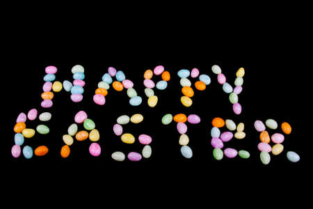 Happy Easter text made from jellybean letters photo