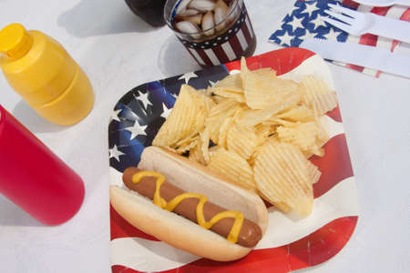 fourth of july: 4th Of July hotdog meal with chips and soda