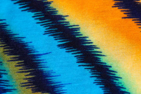 textiles: Abstract pattern in blue, orange and  yellow  background Stock Photo