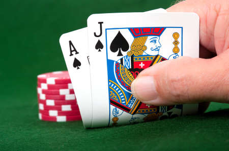 Winning Blackjack hand with poker chip bet