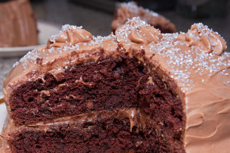 Chocolate layered cake with chocolate frosting and sprinkles Stock Photo