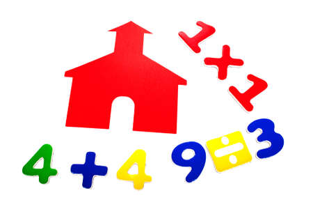 Little red school house with addition, division and multiplication