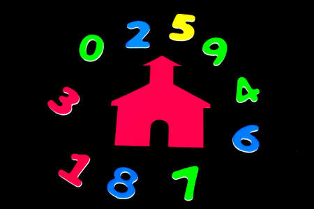 school house: Little Red School House con los n�meros de colores