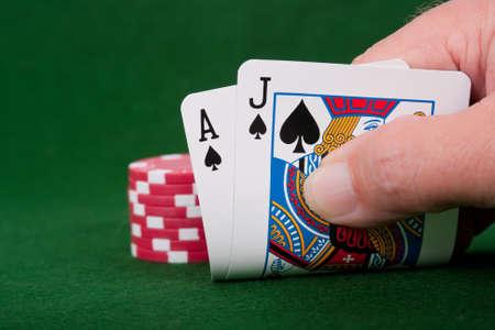 Winning Blackjack hand with poker chip bet