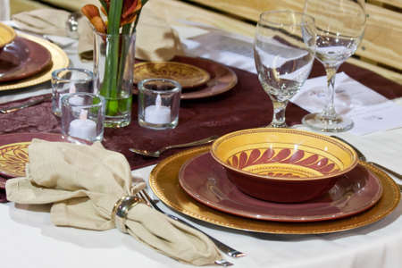 Place settings for a formal dinner party