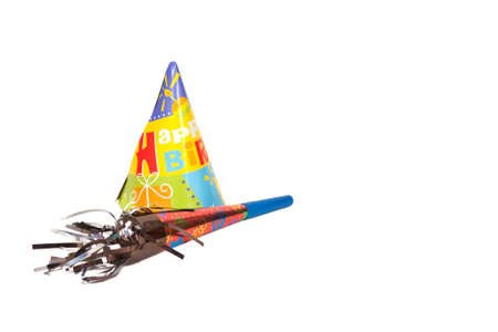 noise maker: Party hat and noise maker isolated on white background