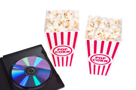 Popcorn in boxes for two with a DVD for movie night Banque d'images