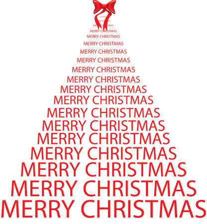 Christmas tree illustration made with red lettering and red bow Stock Photo